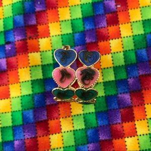 Vintage Painted Heart Clip-On Earrings